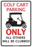 Golf Cart Parking Only Placa de lata