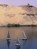 Three Feluccas on the River Nile, Aswan, Nubia, Egypt, North Africa, Africa Photographic Print by Sylvain Grandadam