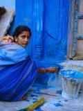Woman Painting Her House, Jodhpur, Rajasthan, India Photographic Print by Bruno Morandi