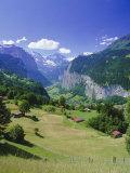 View Over Lauterbrunnen from Wengen, Bernese Oberland, Swiss Alps, Switzerland, Europe Photographic Print by Simon Harris