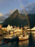 Rainbow Over Colourful Fishing Village of Hamnoy, Moskenesoya, Lofoten Islands, Nordland, Norway Photographic Print by Gavin Hellier
