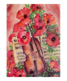 Violin and Poppies Plakater af Dina Cuthbertson