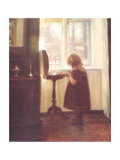 Small Girl By a Sewing Table Poster av Carl Holsoe