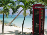 English Telephone Box on the Beach, Dickenson's Bay, North-East Coast, Antigua, West Indies Reproduction photographique par J P De Manne