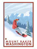 Snowboarder Scene, Mount Baker, Washington Premium Giclee Print by  Lantern Press