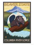 Beaver & Mt. Hood, Columbia River Gorge, OR Lámina giclée prémium por  Lantern Press