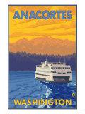 Ferry and Mountains, Anacortes, Washington Premium Giclee Print by  Lantern Press