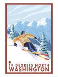 Downhhill Snow Skier, 49 Degrees North, Washington Poster by  Lantern Press