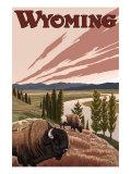 Yellowstone River Bison, Yellowstone National Park, Wyoming Posters av  Lantern Press