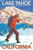 Skier Carrying Snow Skis, Lake Tahoe, California Posters by  Lantern Press