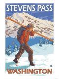 Skier Carrying Snow Skis, Stevens Pass, Washington Prints by  Lantern Press