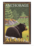Black Bear in Forest, Anchorage, Alaska Posters par  Lantern Press