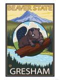 Beaver & Mt. Hood, Gresham, Oregon Lámina giclée prémium por  Lantern Press