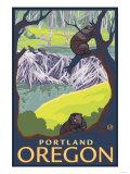 Beaver Family, Portland, Oregon Lámina giclée prémium por  Lantern Press