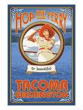 Woman Riding Ferry, Tacoma, Washington Premium Giclee Print by  Lantern Press
