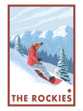 Snowboarder Scene, The Rockies Premium Giclee Print by  Lantern Press