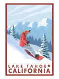 Snowboarder Scene, Lake Tahoe, California Print by  Lantern Press