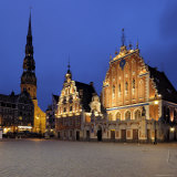 House of the Blackheads at Night, Ratslaukums (Town Hall Square), Riga, Latvia, Baltic States Photographic Print by Gary Cook