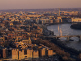 Aerial View of D.C. and the Potomac River from Georgetown, Washington, D.C. Fotografisk tryk af Kenneth Garrett