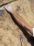 Detail of a Rock Climbing Bolt and a Climber's Forearm, California Photographic Print by Rich Reid