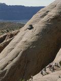 Jeep Drives Down a Slick Rock Formation Called Lion's Back, Utah Reproduction photographique par James P. Blair