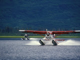 Two Floatplanes Landing on Robe Lake near Valdez, Robe Lake, Alaska Fotografisk tryk af Rich Reid