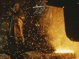 Sparks Fly from a Steel Furnace, Utah Reproduction photographique par James P. Blair