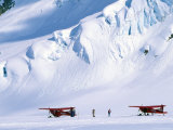 Two Bush Pilots Stand Outside their Planes on a Glacier, Alaska Fotografisk tryk af Kate Thompson