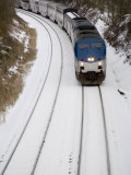 Train Cuts Across Fresh Snow Photographic Print by Stephen St. John