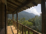 Wooden Balcony of Venezuelan House with View of Andean Cloud Forest Fotografisk tryk af David Evans