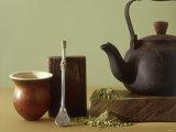 Utensils for Chimarrao: Silver Straw, Infusing Bowl Fotografie-Druck von Ricardo De Vicq De Cumptich