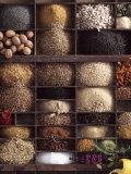 Spices for Baking Bread in Typesetter's Case Fotografie-Druck
