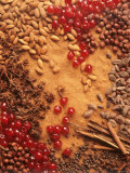 Spices, Nuts, Almonds and Cherries Forming a Surface Fotografie-Druck von Luzia Ellert