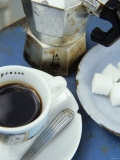 A Cup of Espresso, Sugar Cubes and Espresso Pot Fotografie-Druck von Véronique Leplat