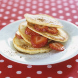 A Pile of Pancakes with Strawberries