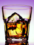 Glass of Whiskey with Ice Cubes Fotografisk trykk av Peter Howard Smith