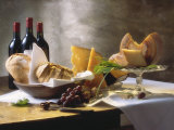 Assorted Types of Cheese with Bread, Red Wine Fotografisk tryk