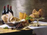 Assorted Types of Cheese with Bread, Red Wine Bedruckte aufgespannte Leinwand