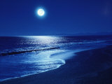 Full Moon Over the Sea Stretched Canvas Print