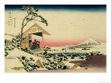 36 Views of Mount Fuji, no. 24: Tea House at Koishikawa (The Morning after a Snowfall) Giclée-Druck von Katsushika Hokusai