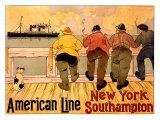 American Line, New York to Southampton Giclée-tryk af Henri Cassiers