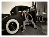 Hot Rod Pin-Up Girl Giclée-tryk af David Perry