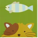 Kuckuck II - hier ist die Katze Bedruckte aufgespannte Leinwand von Yuko Lau