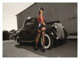 Hot Rod Pin-Up Girl Lámina giclée por David Perry