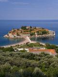 Island of Sveti Stefan and Adriatic Sea, Budva Riviera, Montenegro Photographic Print by Gavin Hellier