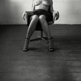 Pentacon Six Camera Shot of Topless Woman in Fishnet Stockings Fotoprint av Rafal Bednarz