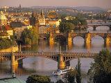 Charles Bridge, Prague, Czech Republic Impressão em tela esticada por Walter Bibikow