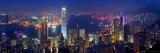 Victoria havn og skyline set fra bjergtoppen, Hong Kong, Kina Fotografisk tryk af Michele Falzone
