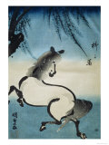 Horse Galloping under Willow Tree Giclee Print by Utagawa Kunisada