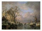 Skating in Holland, Showing a Winter Scene with Ice-Scaters and with a Windmill in the Background Giclee Print by Andreas Schelfhout
